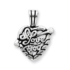 Sterling Silver Antiqued I Love You Heart Pendant