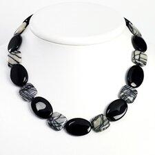 Sterling Silver Black Agate Zebra Jasper Necklace - 17 Inch- Toggle