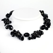 Sterling Silver Black Crystal and Onyx Necklace - 16 Inch- Lobster Claw