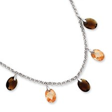 Sterling Silver Brown and Champagne CZ Necklace - 16 Inch- Spring Ring