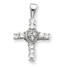 Sterling Silver CZ Heart Cross Pendant