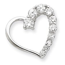 <strong>Jewelryweb</strong> Sterling Silver CZ Heart Journey Pendant