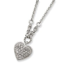 Sterling Silver CZ Heart Necklace - 16 Inch- Spring Ring