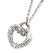 <strong>Jewelryweb</strong> Sterling Silver CZ Open Heart Necklace - 16 Inch- Spring Ring