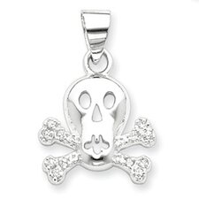 Sterling Silver CZ Skull and Crossbones Pendant