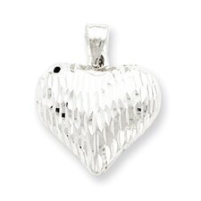Sterling Silver Diamond-Cut Puffed Heart Pendant