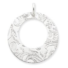 Sterling Silver Embossed Circle Pendant