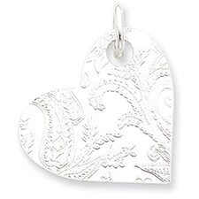 Sterling Silver Embossed Heart Disc Pendant