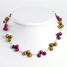 Sterling Silver Golden Purple Cult. Pearl Necklace - 18 Inch- Lobster Claw