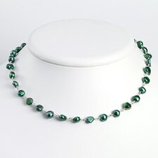 Sterling Silver Green Cultured Pearl Necklace - 16 Inch- Lobster Claw
