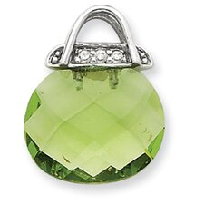 <strong>Jewelryweb</strong> Sterling Silver Green CZ Purse Pendant