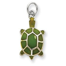 <strong>Jewelryweb</strong> Sterling Silver Green Enameled Turtle Pendant
