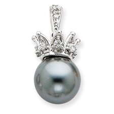 Sterling Silver Grey Syn. Cultured Pearl and CZ Crown Pendant