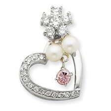 Sterling Silver Imitation Pearl and CZ Pendant