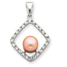 Sterling Silver Imitation Cultured Pearl and CZ Pendant