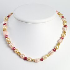 Sterling Silver Multi-Color Cultured Pearl Necklace - 18 Inch- Lobster Claw