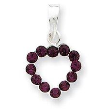 Sterling Silver Purple CZ Heart Pendant