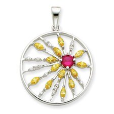 Sterling Silver Red and Yellow CZ Circle Pendant