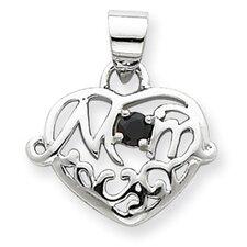 Sterling Silver Sapphire Mom Heart Pendant
