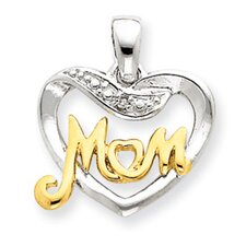 Sterling Silver Vermeil Diamond Mom Pendant