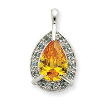 Sterling Silver Yellow CZ Pendant