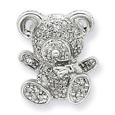 Sterling Silver Diamond Teddy Bear Pendant