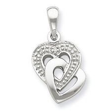 <strong>Jewelryweb</strong> Sterling Silver Diamond Accent Heart Pendant