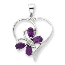 Sterling Silver Rhodium Amethyst and Diamond Butterfly Heart Pendant