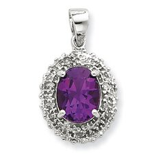 Sterling Silver Rhodium Amethyst and Diamond Pendant