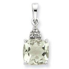 Sterling Silver Rhodium Green Amethyst and Diamond Pendant