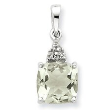 Sterling Silver Rhodium Green Amethyst and Diamond Pendant