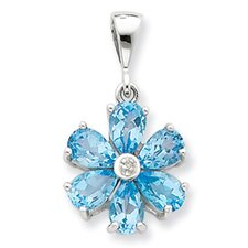 Sterling Silver Lt Sw Blue Topaz and Diamond Flower Pendant