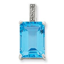 Sterling Silver Emerald-cut Swiss Blue Topaz and Diamond Pendant