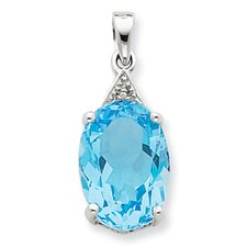 <strong>Jewelryweb</strong> Sterling Silver Rhodium Light Swiss Blue Topaz Diamond Pendant