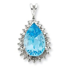 Sterling Silver Light Swiss Blue Topaz Diamond Pendant