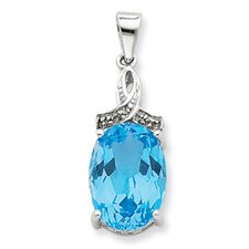 Sterling Silver Rhodium Light Swiss Blue Topaz Diamond Pendant