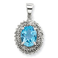 Sterling Silver Rhodium Lt Swiss Blue Topaz and Diamond Pendant