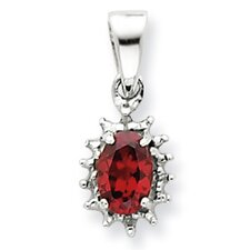 Sterling Silver Rhodium Garnet and Diamond Pendant