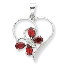 Sterling Silver Rhodium Garnet and Diamond Butterfly Heart Pendant