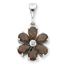 Sterling Silver Rhodium Smokey Qtz and Diamond Flower Pendant