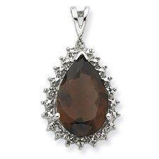 Sterling Silver Rhodium Smokey Quartz and Diamond Pear Pendant