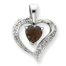 Sterling Silver Rhodium Heart Smokey Quartz and Diamond Heart Pendant