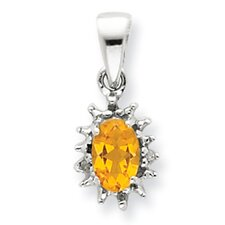 Sterling Silver Rhodium Citrine and Diamond Pendant