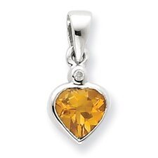 Sterling Silver Rhodium Citrine Diamond Pendant