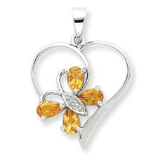 Sterling Silver Rhodium Citrine and Diamond Butterfly Heart Pendant