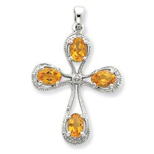 Sterling Silver Rhodium Citrine and Diamond Cross Pendant