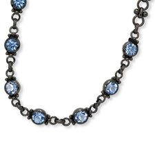 <strong>Jewelryweb</strong> Black-plated Faceted Light Blue Crystal Link 15.5inch With ext Necklace
