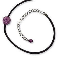 Black-plated Purple Crystal Fireball 16 InchWith ext Satin Cord Necklace