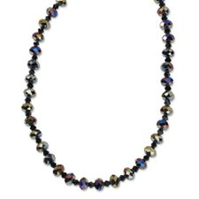 Black-plated Aurora Borealis Black Crystal 16 With ext Necklace