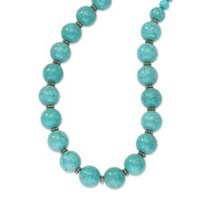 Copper-tone Aqua Beads 16inch With Ext Necklace